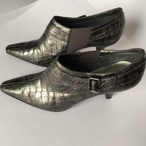Grey faux alligator heels. Anne Klein